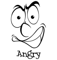 Expression wordcard with angry vector