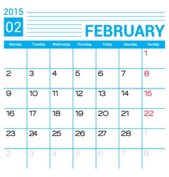 February 2015 calendar page template vector