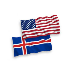 Flags iceland and america on a white background vector