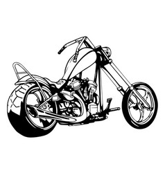flaming bike chopper ride front view eps 10 vector image