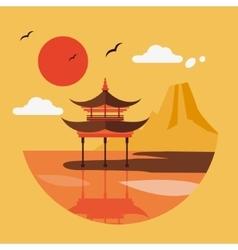 flat design landscape japan vector image