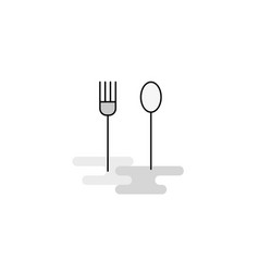 Fork and spoon web icon flat line filled gray icon vector