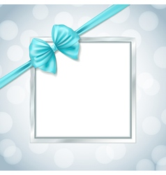 frame with ribbon bow vector image