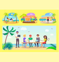 Freelancers work at office table on tropical beach vector