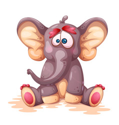 funny cute crazy cartoon elephant charcters vector image
