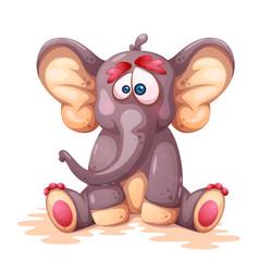 Funny cute crazy cartoon elephant charcters vector