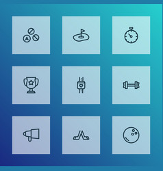 game icons line style set with hockey bullhorn vector image