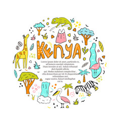 Hand drawn abstract design kenya with landmarks vector