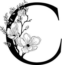 Hand drawn floral c monogram and logo vector