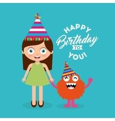 Happy birthday celebration card with kid vector