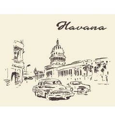 Havana old cars vintage drawn sketch vector