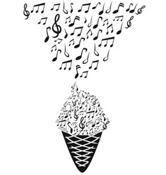 ice cream with music notes vector image
