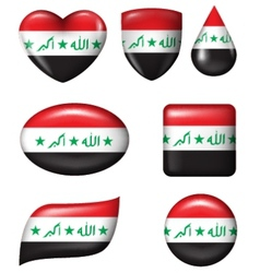 Iraq flag in various shape glossy button vector