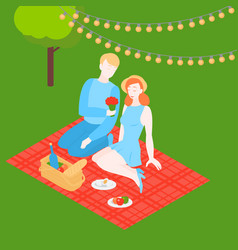 Isometric couple outside on romantic date vector