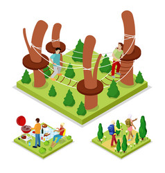 isometric outdoor activity rope park and barbeque vector image
