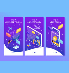 Isometric tourists look choose direction relax vector