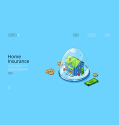 Landing page home insurance service vector