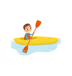 Little boy engaged in kayaking cheerful kid vector