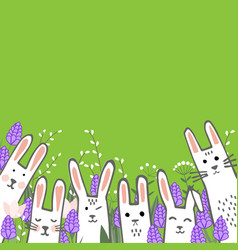 Little cute bunnies in hyacinths and tulip flowers vector