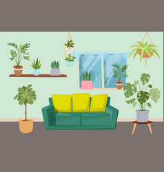 Living room interior with green plants and vector
