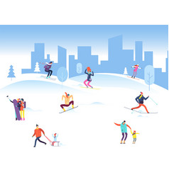 merry christmas background with people in winter vector image