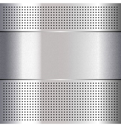 Metallic perforated chromium steel sheet 10eps vector image