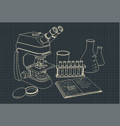 Microscope and laboratory equipment vector