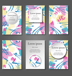 minimal covers set artistic paint pattern vector image
