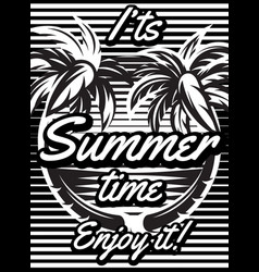 monochrome retro poster with palm trees to vector image