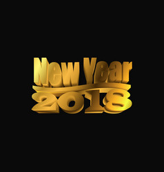 new year 2018 gold 3d symbol vector image