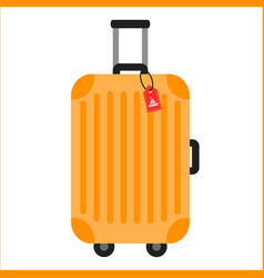 Orange travelling baggage suitcase vector