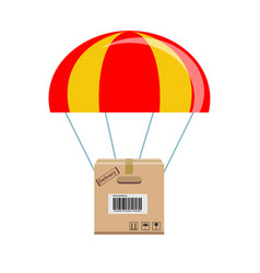 package flying down from sky with parachute vector image