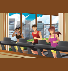 People running on treadmills vector