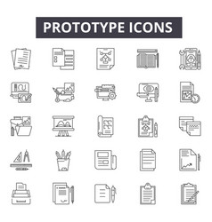 Prototype line icons signs set linear vector