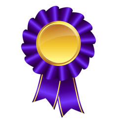 Purple ribbon award with gold medal center vector