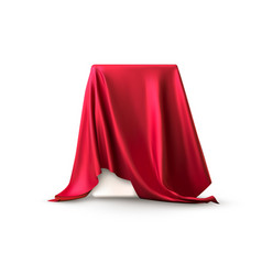 Realistic box covered with red silk cloth vector