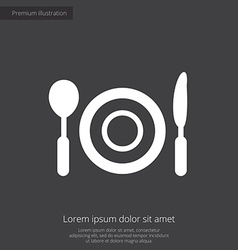 Restaurant premium icon white on dark background vector