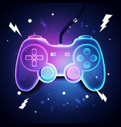 retro neon color game controller vector image