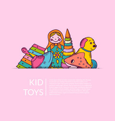round pile of kid toys elements half hidden vector image