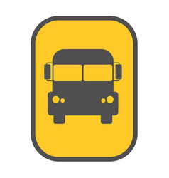 School bus sign yellow map pointer vector