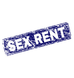 Scratched sex rent framed rounded rectangle stamp vector