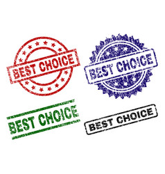 scratched textured best choice stamp seals vector image
