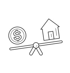 Seesaw with house and dollar coin line icon vector