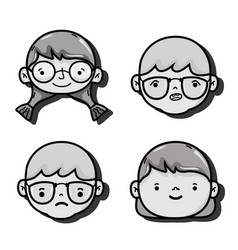 set girls and boys head with hairstyle design vector image