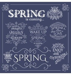 Set of headlines with Spring Quotes vector image