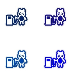 Set of paper stickers on white background panda vector