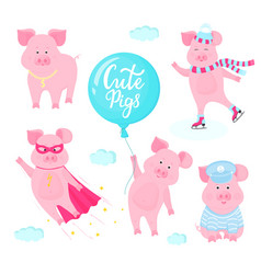 set of pigs cartoon characters piglet flies in a vector image