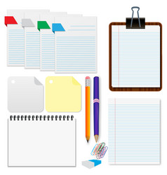 set paper sheets pencil stationery vector image