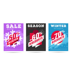 set winter posters with per cent numbers and vector image