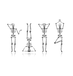 Skeleton sketches for your design vector image